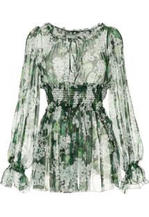 Dolce & Gabbana Blusa Floral De Seda - Verde