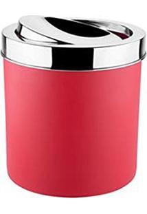 Lixeira Com Tampa Basculante Inox 5,4 Litros Vermelha - Brinox