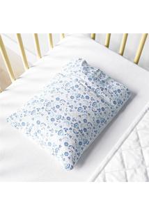 Fronha Bebê Menina Azul Floral Liberty Estampa Grão De Gente Azul