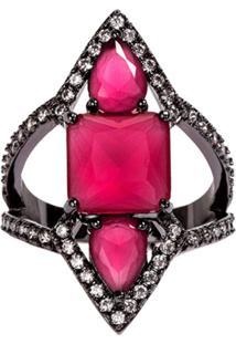 1651b7ce7bf ... Anel Prin The Ring Boutique Pedras Cristais Vermelho Rubi Ródio Negro
