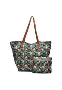 Bolsa Tote Tecido Impermeável Floral Zíper Com Necessaire Verde