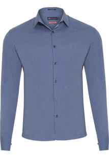 Camisa Masculina Urban Slim Fit Lisa - Azul