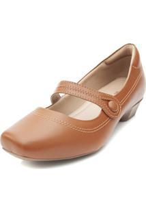 Sapato Boneca Pattini Confort Em Couro Salto Baixo Caramelo