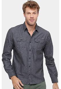 Camisa Colcci Manga Longa Mini Print Masculina - Masculino-Preto+Branco