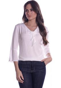 Blusa Lisa Offwhite Com Lacinho - Off-White - Feminino - Viscose - Dafiti