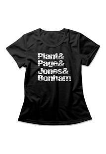 Camiseta Feminina Led Zeppelin Nomes Preto