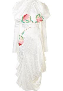 Yuhan Wang Vestido Midi Drapeado Com Aplicação - Branco