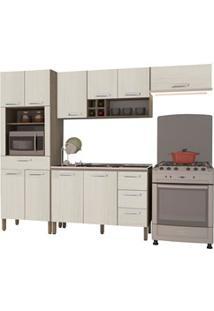 Cozinha Modulada Ametista 4 Módulos Composição 3 Nogal/Arena - Kit'S P