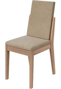 Cadeira Lira Veludo Naturale Creme Carvalho Naturale