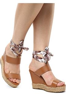 Sandália Plataforma Shoestock Lenço Corda Feminina - Feminino-Caramelo