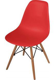 Cadeira Polipropileno Com Pés De Madeira 82X47Cm Vermelha