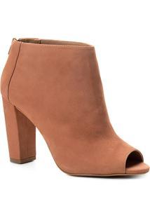 Ankle Boot Shoestock Nobuck Salto Grosso - Feminino-Nude