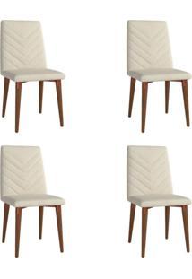 Conjunto Com 4 Cadeiras De Jantar Liv Bege