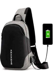 Mochila Cross Body Usb Tablet Notebook - Unissex-Cinza
