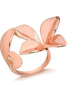 Anel Regulável Em Formato De Flor Folheado Em Ouro Rosé - 1140000004813 M