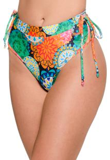 Calcinha Blue Horse Lara Hot Pants Retro Com Lacinho Lycra Estampado Mandala Colorida