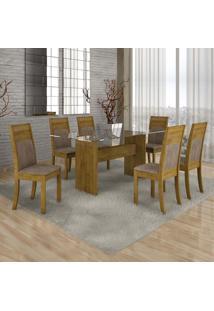 Conjunto De Mesa Com 6 Cadeiras Ravena Suede Ypê E Marrom Claro