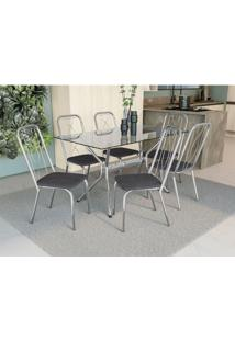 Conjunto Mesa Loire C/ 6 Cadeiras Viena Cromado/Preto Linho Cinza Kappesberg - Tricae