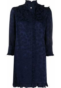 Sandro Paris Vestido De Jacquard Com Estampa Floral - Azul