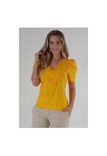 Blusa Mamorena Decote V Com Renda Amarelo