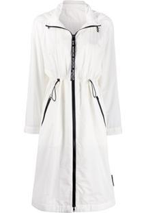 Moncler Drawstring Waist Hooded Raincoat - Branco