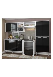 Cozinha Completa Compacta Xangai Plus Multimóveis Branco/Preto