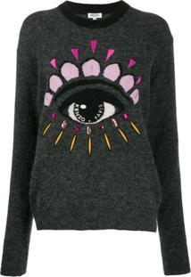 Kenzo Suéter Com Aplicação Eye - Cinza