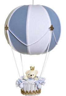 Lustre Balão Bolinha Ursinho Príncipe Potinho De Mel Azul