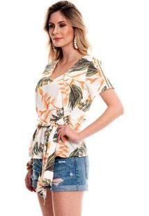 Blusa Bisô Amarração Estampada Feminino - Feminino-Branco