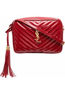 Saint Laurent Bolsa Transversal Lou Monogramada - Vermelho