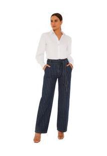 Calça Maria.Valentina Reta Oversized Cós Alto Com Faixa Jeans
