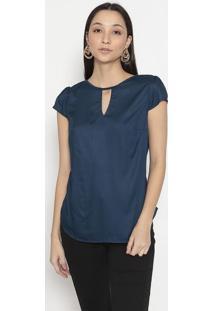 Blusa Com Trançado- Azul Marinho- Vip Reservavip Reserva
