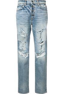Amiri Calça Jeans Com Efeito Rasgado - Azul