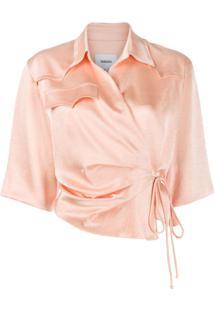 Nanushka Blusa Com Transpasse Assimétrico - Rosa