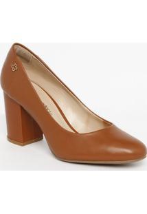 Sapato Tradicional Em Couro Com Tag - Marrom Claro- Capodarte