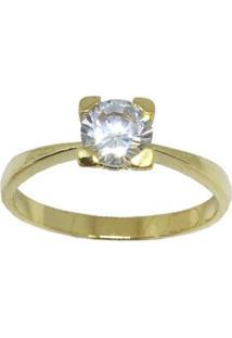 Anel Solitario Banhado A Ouro Com Pedra Media De Zirconia - Feminino-Dourado