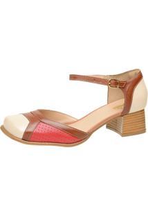 Sapato Retrô Bico Quadrado Dhl Feminino Bege, Marrom E Vermelho - Kanui