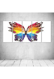 Quadro Decorativo - Butterfly Abstract - Composto De 5 Quadros