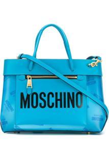 Moschino Bolsa Tote Pequena Com Logo - Azul
