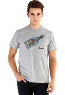 Camiseta Ouroboros Manga Curta Abstrato - Masculino-Cinza