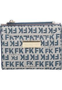 """Carteira """"Fk"""" - Azul Claro & Azul Escuro - 15X23X3Cmfellipe Krein"""