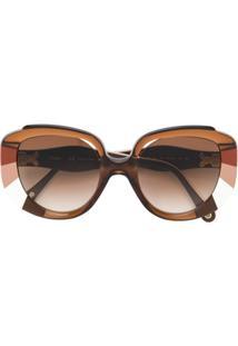 ... Chloé Eyewear Óculos De Sol Gatinho Oversized - Marrom 043f60e372