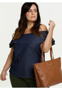 Blusa Jeans Feminina Open Shoulder Plus Size Marisa
