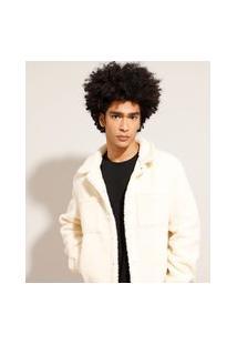 Jaqueta Overshirt De Pelo Com Bolsos Off White