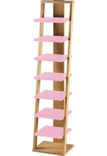 Prateleira Stairway Estrutura Natural Acabamento Rosa 170Cm - 61109 - Sun House