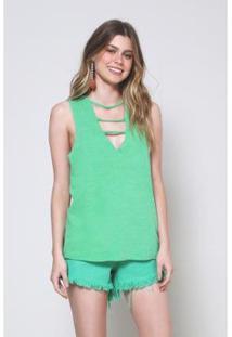Blusa Detalhe Decote Tropical Oh, Boy! - Feminino-Verde