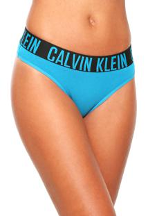 Calcinha Calvin Klein Underwear Tanga Básica Azul