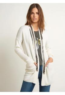Cardigan Bobô Chains Tricot Branco Feminino (Off White, Gg)