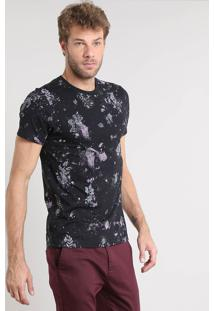Camiseta Masculina Slim Fit Estampada De Respingos Manga Curta Gola Careca Preta