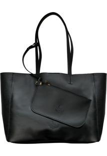 Bolsa Line Store Sacola Shopper N2 Couro Preto Premium
